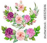 set of roses composition... | Shutterstock . vector #683325646