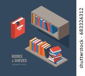 book shelves  isometric vector... | Shutterstock .eps vector #683326312