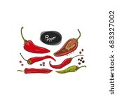 hand drawn sketch style chilli... | Shutterstock .eps vector #683327002