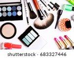 make up brush  eye shadow ... | Shutterstock . vector #683327446