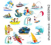 set of water extreme sports... | Shutterstock .eps vector #683330962