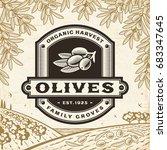 retro olives label on harvest...   Shutterstock .eps vector #683347645
