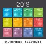 Colorful Year 2018 Calendar...