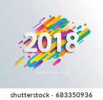 creative happy new year 2018... | Shutterstock .eps vector #683350936
