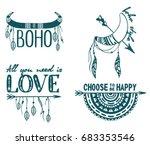 boho logo. hand drawn boho... | Shutterstock .eps vector #683353546