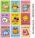 Stock vector vector cards with colour doodle cute cats for greeting card design t shirt print inspiration 683362456