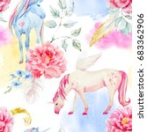 watercolor pegasus pattern and... | Shutterstock . vector #683362906