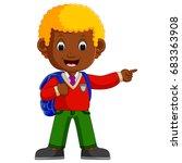 cute boy with backpack cartoon | Shutterstock . vector #683363908
