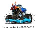 vector cartoon monster truck.... | Shutterstock .eps vector #683366512