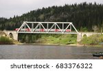 the train passes spectacularly... | Shutterstock . vector #683376322