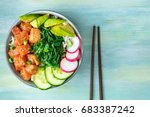 an overhead photo of poke ... | Shutterstock . vector #683387242