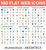 vector set of 180 flat web... | Shutterstock .eps vector #683387815