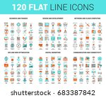 vector set of 120 flat line web ... | Shutterstock .eps vector #683387842
