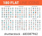 vector set of 180 flat line web ... | Shutterstock .eps vector #683387962