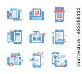 abstract vector set of flat...