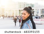 black girl portrait in berlin.... | Shutterstock . vector #683393155