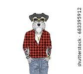 schnauzer dog hipster  furry... | Shutterstock .eps vector #683395912