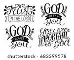 4 hand lettering god bless you. ... | Shutterstock .eps vector #683399578
