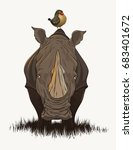 rhino with bird | Shutterstock .eps vector #683401672