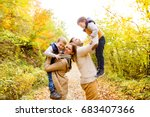 beautiful young family on a... | Shutterstock . vector #683407366
