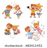 kids to make self portrait... | Shutterstock .eps vector #683411452