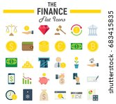 finance flat icon set  business ... | Shutterstock .eps vector #683415835