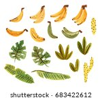 Cute Tropical Set With Bananas  ...