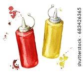 ketchup and mustard. watercolor ... | Shutterstock . vector #683426365