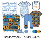 boys' fashion illustration with ... | Shutterstock .eps vector #683430376