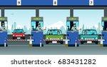 highway officials collect money ... | Shutterstock .eps vector #683431282