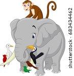 happy animals cartoon | Shutterstock .eps vector #683434462