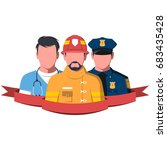 silhouettes of rescue workers... | Shutterstock .eps vector #683435428