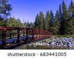Red Bridge Above Bow River Fish Creek Park, Calgary, Alberta, Canada