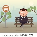 angry nervous businessman... | Shutterstock .eps vector #683441872