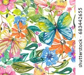 watercolor beautiful floral... | Shutterstock . vector #683442655