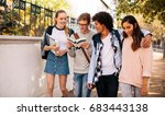 Stock photo group of university students with books in college campus college students discussing on the road 683443138