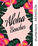 tropical poster with words... | Shutterstock .eps vector #683443156
