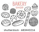set of vector bakery engraved... | Shutterstock .eps vector #683443216