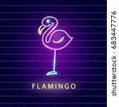 flamingo neon bright sign.... | Shutterstock .eps vector #683447776