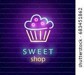 sweet shop neon logo sign on... | Shutterstock .eps vector #683451862