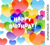 birthday card with hearts | Shutterstock . vector #683453836