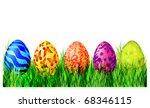 easter eggs on green grass | Shutterstock .eps vector #68346115