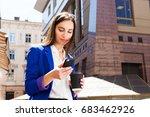 girl in bright blue jacket...   Shutterstock . vector #683462926
