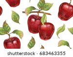 seamless pattern with red... | Shutterstock .eps vector #683463355