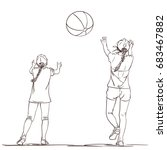 Vector Sketch Of Two Girls In...