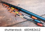 fishing equipment on a old... | Shutterstock . vector #683482612