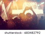 crowd at concert   cheering... | Shutterstock . vector #683482792