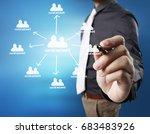 business man drawing social...   Shutterstock . vector #683483926