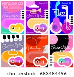 set of six different music... | Shutterstock .eps vector #683484496