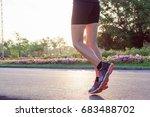 runner feet running on road at... | Shutterstock . vector #683488702